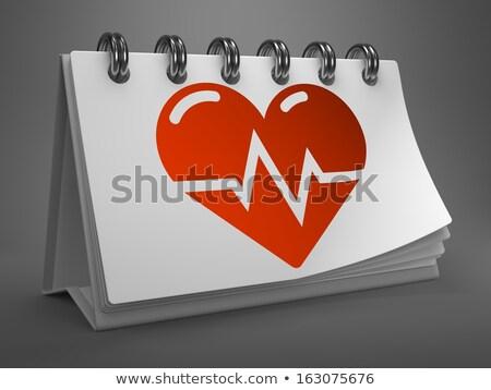 área de trabalho calendário ícone coração cardiograma vermelho Foto stock © tashatuvango