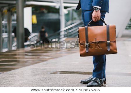 business · leder · aktetas · pop · art · retro · tekening - stockfoto © loopall