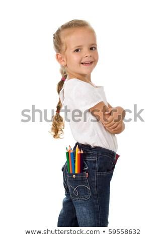 Mały dumny dziewczyna ołówki kieszeni gotowy Zdjęcia stock © ilona75