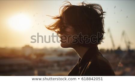 portret · dziewczyna · niebo · piękna · dziewczyna · burzy · chmury - zdjęcia stock © Ainat