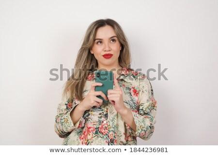 Stok fotoğraf: Portre · genç · mutlu · kadın · yalıtılmış