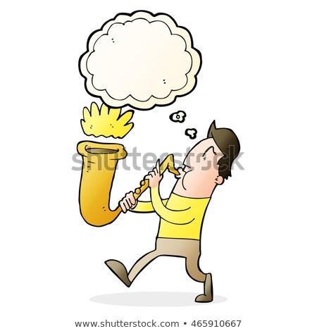 Cartoon człowiek saksofon bubble myśl strony Zdjęcia stock © lineartestpilot