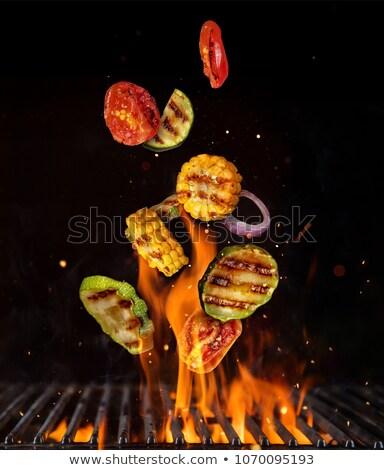 plaat · groenten · frietjes · biefstuk · achtergrond · vlees - stockfoto © ironstealth