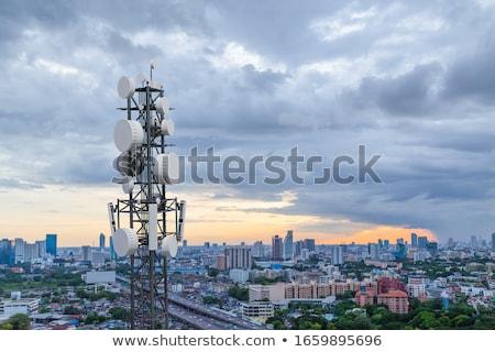 Antena torre blue sky metal rádio comunicação Foto stock © njnightsky