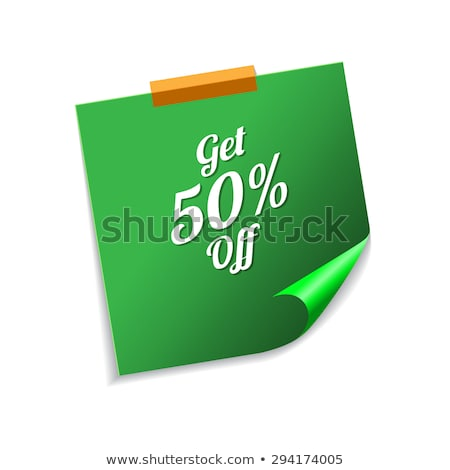 Get 50 Percent Green Sticky Notes Vector Icon Design Stock photo © rizwanali3d