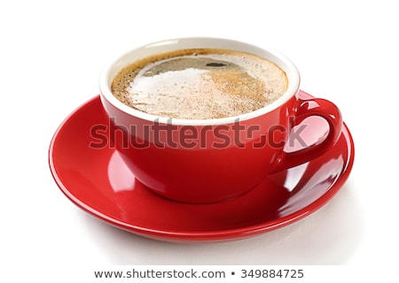 Red cup of coffee on plate isolated on white Stock photo © tetkoren