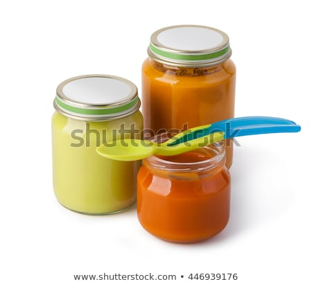 jar with fruit and vegetables baby food isolated on white stock photo © tetkoren