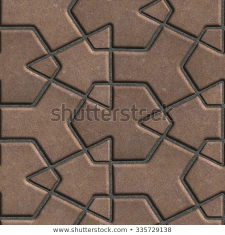 brown paving slabs built of crossed pieces a various shapes stock photo © tashatuvango