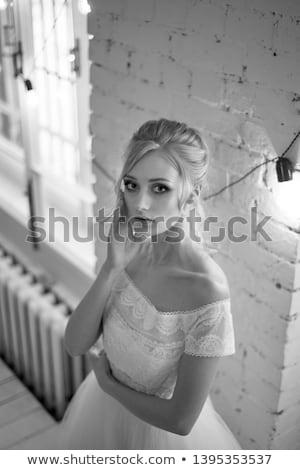 Sırf dantel güzel ince sarışın kadın Stok fotoğraf © disorderly