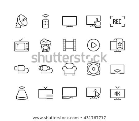 ретро телевидение линия икона веб мобильных Сток-фото © RAStudio