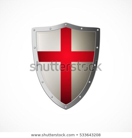 Illustration by red knight shield of white background Stock photo © smeagorl