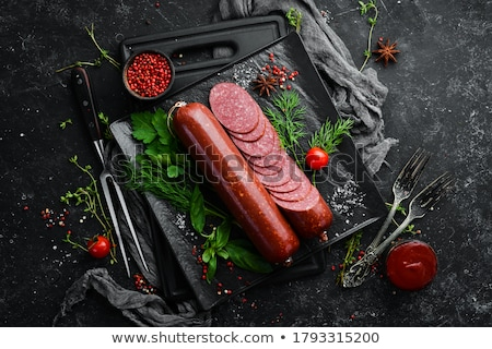 szalámi · füstölt · kolbász · szeletek · izolált · fehér - stock fotó © digifoodstock