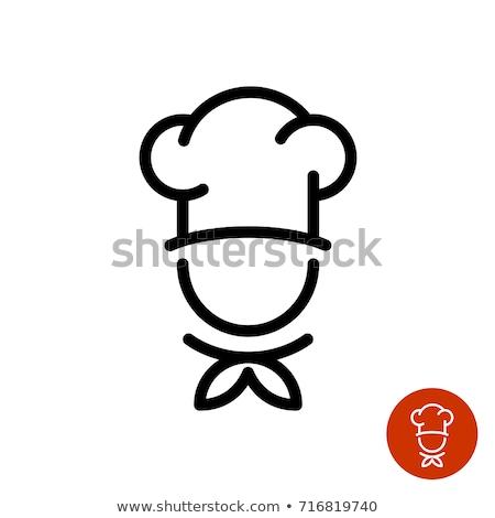 küçük · şef · krep · gülen · karikatür · kroki - stok fotoğraf © bluering