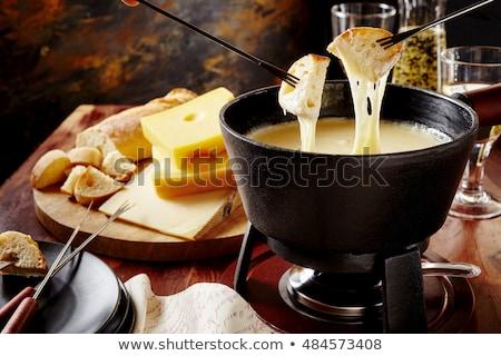チーズ · 木材 · 背景 · 表 · ディナー · フォーク - ストックフォト © M-studio