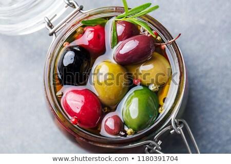 Dish of marinated Olives Stock photo © monkey_business