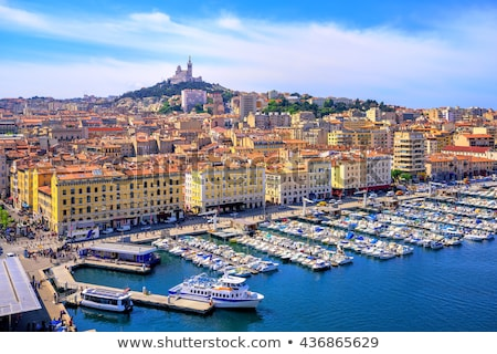 aerial of Marseilles harbor and old town Stock photo © meinzahn
