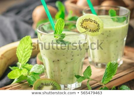 Vers groene kiwi smoothie mint honing Stockfoto © yelenayemchuk