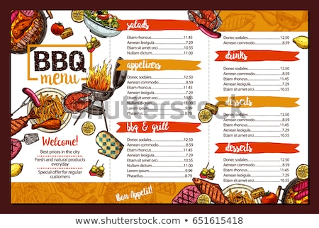 grill · menu · restaurant · chef · verbergen · achter - stockfoto © Fisher