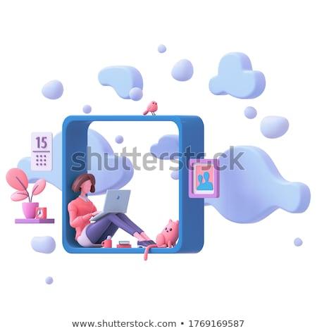 Cloud Technology in Workplace Background. 3D Illustration. Stock photo © tashatuvango