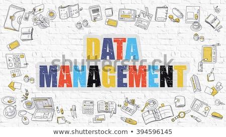 multicolor data analysis on white brickwall doodle style stock photo © tashatuvango