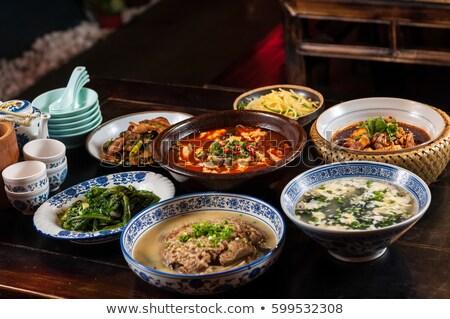 chinese · keuken · varkens · chili · pot · restaurant - stockfoto © raywoo