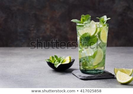 стекла · воды · извести · льда · мята · бутылку - Сток-фото © lana_m