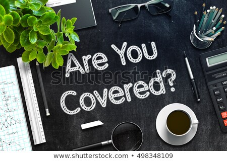 black chalkboard with are you covered 3d rendering stock photo © tashatuvango