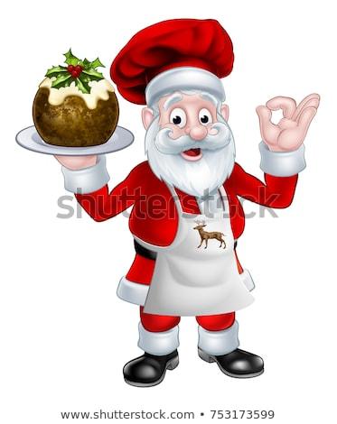 Kucharz christmas hat pudding Zdjęcia stock © Krisdog