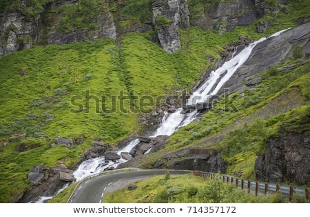 Kicsi vízesés nem Norvégia hegyek út Stock fotó © compuinfoto