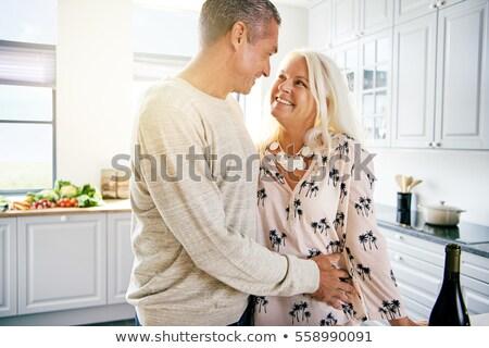 iki · kişi · diğer · mutfak · sevmek · adam - stok fotoğraf © is2
