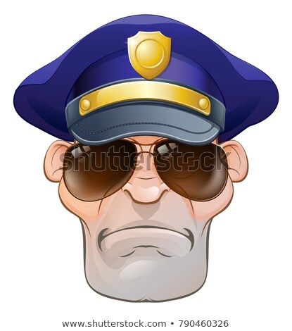 Mean Angry Cartoon Police Man Cop in Shades Stock photo © Krisdog