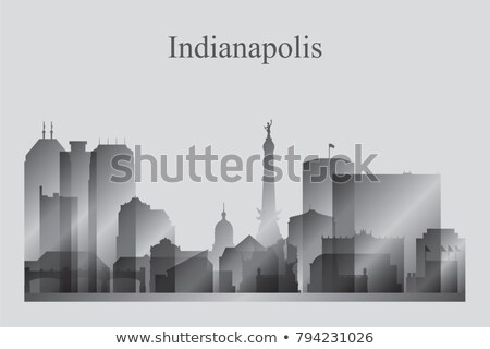 Indianapolis city skyline silhouette in grayscale Stock photo © Ray_of_Light