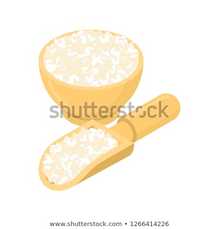 Round rice in wooden bowl and spoon. Groats in wood dish and sho Stock photo © MaryValery