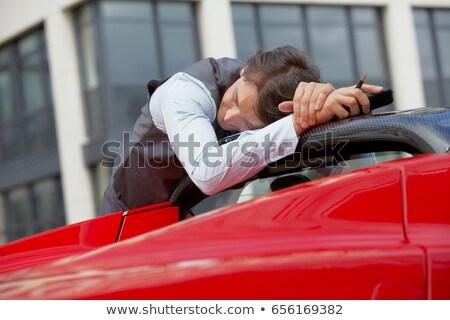 человека спальный электрических Спортивный автомобиль автомобилей бизнесмен Сток-фото © IS2