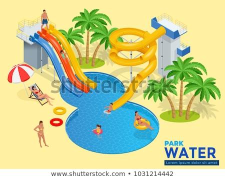 аквапарк · пластиковых · Водная · горка · изометрический · 3D · элемент - Сток-фото © studioworkstock