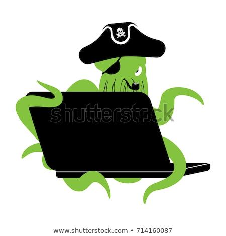 Internetowych pirackich ośmiornicy laptop Internetu hacker Zdjęcia stock © popaukropa