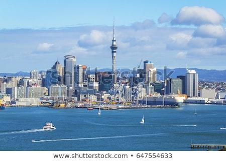 Kilátás tenger vitorlás hajó Új-Zéland város központ Stock fotó © daboost