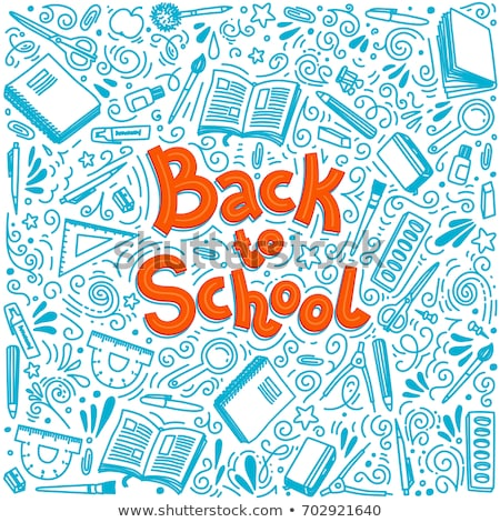 Back to school poster, sketchy notebook doodles with lettering, vector illustration. Stock photo © ikopylov
