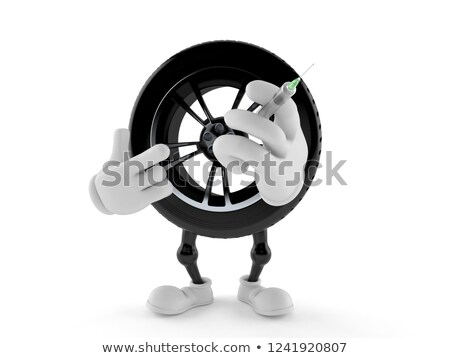 medical syringe with wheels on white background isolated 3d ill stock photo © iserg