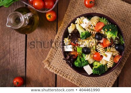 Płyty makaronu brokuły para kręgle Zdjęcia stock © mpessaris