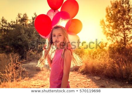 Puesta de sol cute nina retrato agradable calle Foto stock © alexaldo