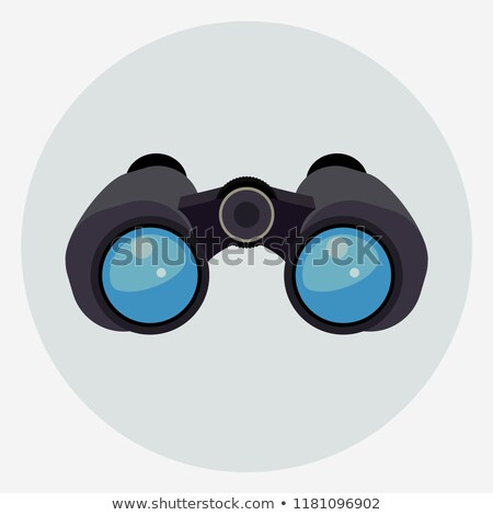 Binoculars with clear blue lenses icon. Vector Stock photo © Andrei_