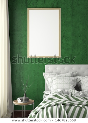 Stockfoto: Groene · slaapkamer · sjabloon · illustratie · kunst · teken