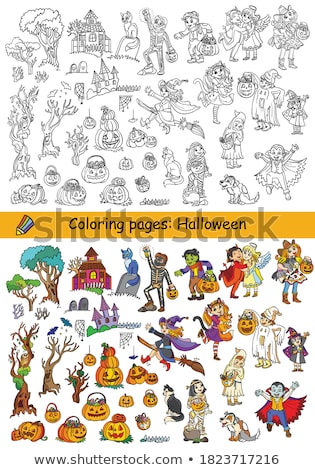 differences game with spooky characters color book stock photo © izakowski