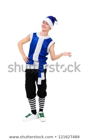 engraçado · menino · posando · gnomo · traje · isolado - foto stock © acidgrey