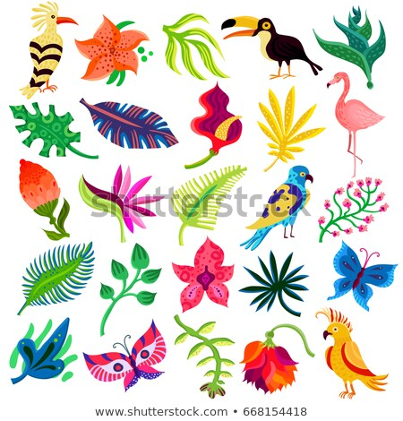Animals and flowers - set of flat design style icons Stock photo © Decorwithme