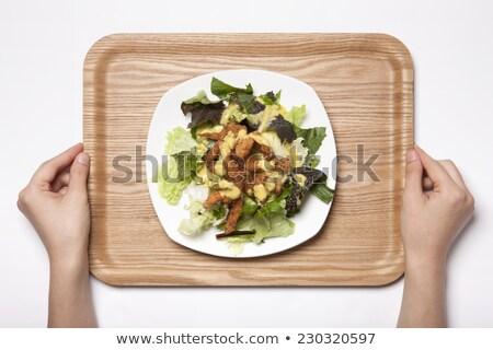 Menina mãos tigela vegetal salada Foto stock © artjazz
