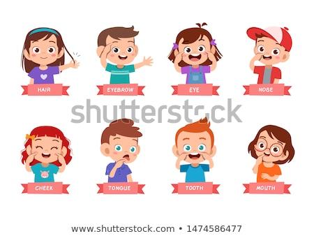 Kid девушки точки носа иллюстрация указывая Сток-фото © lenm