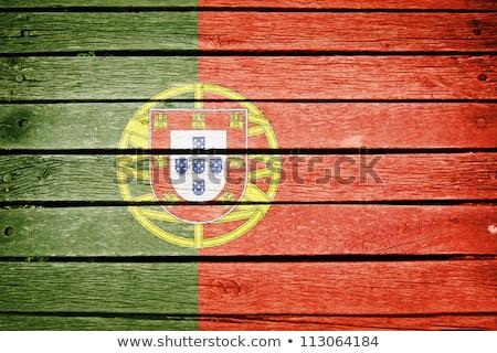 Vlag Portugal houten frame illustratie ontwerp frame Stockfoto © colematt