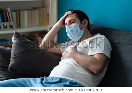 Stockfoto: Man · hoofdpijn · geneeskunde · gezondheid · pop · art · retro